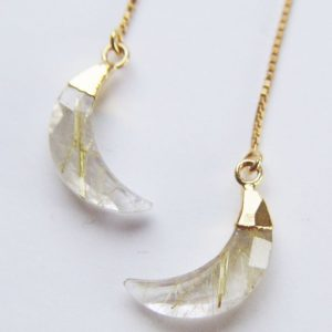 Rutilated Quartz Moon Earrings, Gold Crescent Earrings | Natural genuine Rutilated Quartz earrings. Buy crystal jewelry, handmade handcrafted artisan jewelry for women.  Unique handmade gift ideas. #jewelry #beadedearrings #beadedjewelry #gift #shopping #handmadejewelry #fashion #style #product #earrings #affiliate #ad