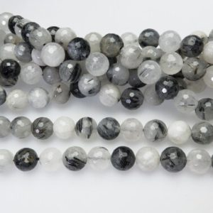Shop Rutilated Quartz Faceted Beads! rutilated quartz faceted round beads – faceted round gemstone stone beads -black and white  jewelry components  for beading project -15inch | Natural genuine faceted Rutilated Quartz beads for beading and jewelry making.  #jewelry #beads #beadedjewelry #diyjewelry #jewelrymaking #beadstore #beading #affiliate #ad
