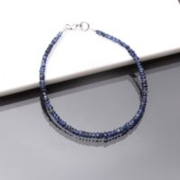Blue Sapphire Bracelet, 3.5-4mm Blue Sapphire Faceted Rondelle Beads Bracelet, Natural Aaa++ Blue Sapphire Beaded Bracelet, 8 Inch Bracelet   Natural genuine Gemstone jewelry. Buy crystal jewelry, handmade handcrafted artisan jewelry for women.  Unique handmade gift ideas. #jewelry #beadedjewelry #beadedjewelry #gift #shopping #handmadejewelry #fashion #style #product #jewelry #affiliate #ad