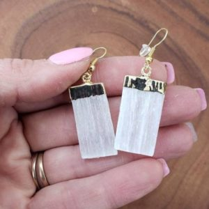 Shop Selenite Jewelry! Selenite  Crystal Earrings – Raw Crystal Earrings – Selenite Stone Earrings – Wife Gift For Her – Selenite Jewelry   Natural genuine Selenite jewelry. Buy crystal jewelry, handmade handcrafted artisan jewelry for women.  Unique handmade gift ideas. #jewelry #beadedjewelry #beadedjewelry #gift #shopping #handmadejewelry #fashion #style #product #jewelry #affiliate #ad