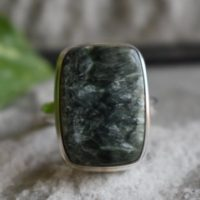925 Silver Natural Seraphinite Ring-green Seraphinite Ring-silver Ring-ring For Women-seraphinite Design Ring-seraphinite Ring | Natural genuine Gemstone jewelry. Buy crystal jewelry, handmade handcrafted artisan jewelry for women.  Unique handmade gift ideas. #jewelry #beadedjewelry #beadedjewelry #gift #shopping #handmadejewelry #fashion #style #product #jewelry #affiliate #ad