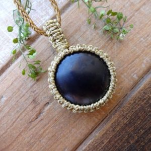 Shop Shungite Necklaces! Shungite EMF protection macrame necklace | Natural genuine Shungite necklaces. Buy crystal jewelry, handmade handcrafted artisan jewelry for women.  Unique handmade gift ideas. #jewelry #beadednecklaces #beadedjewelry #gift #shopping #handmadejewelry #fashion #style #product #necklaces #affiliate #ad