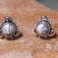 Silver 925 Dendritic Agate Cabochon Stud Butterfly Earrings. | Natural genuine Gemstone jewelry. Buy crystal jewelry, handmade handcrafted artisan jewelry for women.  Unique handmade gift ideas. #jewelry #beadedjewelry #beadedjewelry #gift #shopping #handmadejewelry #fashion #style #product #jewelry #affiliate #ad
