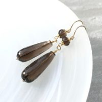 Smokey Quartz Earrings Gold Filled Wire Wrap Natural Gemstones Long Dangle Drops Bohemian Statement Christmas Holiday Gift For Her 6508 | Natural genuine Gemstone jewelry. Buy crystal jewelry, handmade handcrafted artisan jewelry for women.  Unique handmade gift ideas. #jewelry #beadedjewelry #beadedjewelry #gift #shopping #handmadejewelry #fashion #style #product #jewelry #affiliate #ad