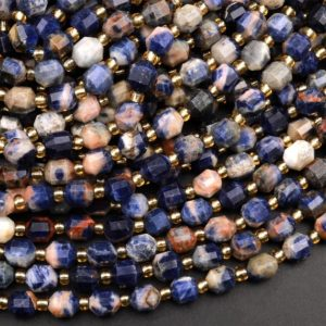 """Natural Blue Orange Sodalite 6mm 8mm Beads Rounded Faceted Energy Prism Double Terminated Points 15.5"""" Strand 