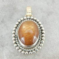 Glittering Orange Sunstone Pendant In Sterling And Gold Frame H11q3k-r | Natural genuine Gemstone jewelry. Buy crystal jewelry, handmade handcrafted artisan jewelry for women.  Unique handmade gift ideas. #jewelry #beadedjewelry #beadedjewelry #gift #shopping #handmadejewelry #fashion #style #product #jewelry #affiliate #ad