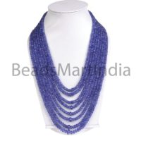 Tanzanite Faceted Rondelle Beads Necklace, tanzanite Rondelle Beads, tanzanite Faceted Beads, blue Tanzanite Rondelle Indian Cut Beads Necklace | Natural genuine Gemstone jewelry. Buy crystal jewelry, handmade handcrafted artisan jewelry for women.  Unique handmade gift ideas. #jewelry #beadedjewelry #beadedjewelry #gift #shopping #handmadejewelry #fashion #style #product #jewelry #affiliate #ad