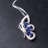 Sterling Silver Gorgeous Tanzanite Butterfly Necklace | Natural genuine Gemstone jewelry. Buy crystal jewelry, handmade handcrafted artisan jewelry for women.  Unique handmade gift ideas. #jewelry #beadedjewelry #beadedjewelry #gift #shopping #handmadejewelry #fashion #style #product #jewelry #affiliate #ad
