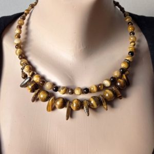 Shop Tiger Eye Necklaces! Chunky necklace tiger's Eye. Brown Yellow necklace hoop. Something special. gemstone protection. Confidence. Stability. Gift for women. | Natural genuine Tiger Eye necklaces. Buy crystal jewelry, handmade handcrafted artisan jewelry for women.  Unique handmade gift ideas. #jewelry #beadednecklaces #beadedjewelry #gift #shopping #handmadejewelry #fashion #style #product #necklaces #affiliate #ad