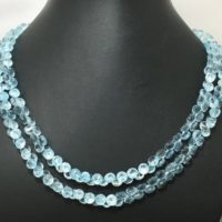 """Natural Blue Topaz Beaded Gemstone Necklace Faceted Onion 6 To 6.5 Mm 17"""" Or Strand / Faceted Blue Topaz / Natural Blue Topaz Beads Sale 