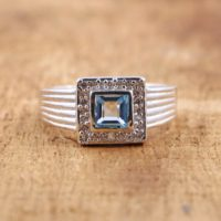 Beautiful Swiss Blue Topaz Ring With Cubic Zirconia* 925 Sterling Silver Ring Of Blue Topaz* A Perfect Gift For Her   Natural genuine Gemstone jewelry. Buy crystal jewelry, handmade handcrafted artisan jewelry for women.  Unique handmade gift ideas. #jewelry #beadedjewelry #beadedjewelry #gift #shopping #handmadejewelry #fashion #style #product #jewelry #affiliate #ad
