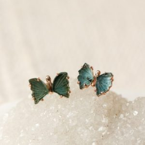 Rose Gold Teal Tourmaline Butterfly Stud Earrings, Blue Chakra Crystal Studs, Healing Throat Chakra, Gift For Wife, Dainty Tourmaline Studs | Natural genuine Tourmaline earrings. Buy crystal jewelry, handmade handcrafted artisan jewelry for women.  Unique handmade gift ideas. #jewelry #beadedearrings #beadedjewelry #gift #shopping #handmadejewelry #fashion #style #product #earrings #affiliate #ad