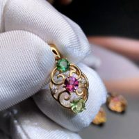Stunning Colourful Tourmaline Engagement Pendant, natural Tourmaline Pendant 18k Solid Rose Gold, hand Made Pendant Gift, gemstone Pendant | Natural genuine Gemstone jewelry. Buy handcrafted artisan wedding jewelry.  Unique handmade bridal jewelry gift ideas. #jewelry #beadedjewelry #gift #crystaljewelry #shopping #handmadejewelry #wedding #bridal #jewelry #affiliate #ad