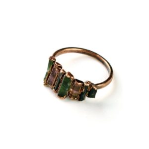Multi Tourmaline Ring | Rough Stone Ring | Statement Ring | Gemstone Ring | Copper Ring | Stackable Ring | Ring For Women | Handmade Ring | Natural genuine Tourmaline rings, simple unique handcrafted gemstone rings. #rings #jewelry #shopping #gift #handmade #fashion #style #affiliate #ad