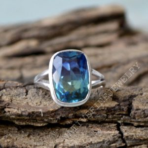 Tourmaline Quartz Ring- 925 Sterling Silver Ring -Cushion Cut Multicolor Quartz Gift Ring -Birthstone Gift Ring- Tourmaline Quartz Gift Ring | Natural genuine Gemstone rings, simple unique handcrafted gemstone rings. #rings #jewelry #shopping #gift #handmade #fashion #style #affiliate #ad