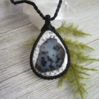 Turkish Dendritic Agate Necklace, Agate Pendant, Black And White Jewelry, Macrame Jewelry, Healing Stone, Boho, Women Gift, Daughter Gift | Natural genuine Gemstone jewelry. Buy crystal jewelry, handmade handcrafted artisan jewelry for women.  Unique handmade gift ideas. #jewelry #beadedjewelry #beadedjewelry #gift #shopping #handmadejewelry #fashion #style #product #jewelry #affiliate #ad