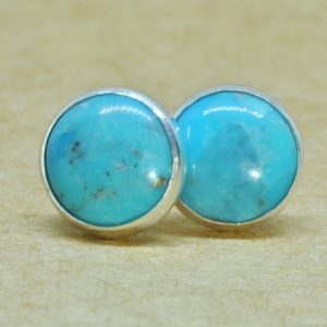 Turquoise Earrings, December Birthday Earrings 8mm In Genuine Sterling Silver | Natural genuine Turquoise earrings. Buy crystal jewelry, handmade handcrafted artisan jewelry for women.  Unique handmade gift ideas. #jewelry #beadedearrings #beadedjewelry #gift #shopping #handmadejewelry #fashion #style #product #earrings #affiliate #ad