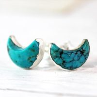 Turquoise Earrings – Turquoise Studs – Crescent Moon Stud Earrings – December Birthstone Jewelry | Natural genuine Gemstone jewelry. Buy crystal jewelry, handmade handcrafted artisan jewelry for women.  Unique handmade gift ideas. #jewelry #beadedjewelry #beadedjewelry #gift #shopping #handmadejewelry #fashion #style #product #jewelry #affiliate #ad