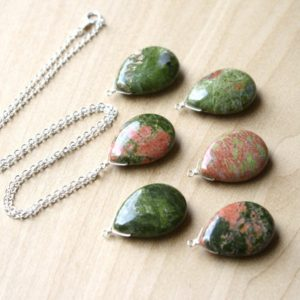 Shop Unakite Pendants! Green Stone Necklace Pendant . Unakite Necklace . Teardrop Gemstone Necklace Sterling Silver . Polished Crystal Necklace Healing NEW   Natural genuine Unakite pendants. Buy crystal jewelry, handmade handcrafted artisan jewelry for women.  Unique handmade gift ideas. #jewelry #beadedpendants #beadedjewelry #gift #shopping #handmadejewelry #fashion #style #product #pendants #affiliate #ad