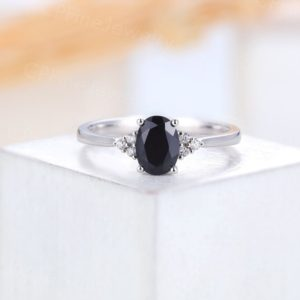 Vintage Black Onyx engagement ring,art deco Oval cut wedding ring white gold,Halo diamond prong set ring, Anniversary ring ,Unique ring   Natural genuine Array rings, simple unique alternative gemstone engagement rings. #rings #jewelry #bridal #wedding #jewelryaccessories #engagementrings #weddingideas #affiliate #ad