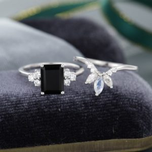 White gold engagement ring set Emerald cut Black Onyx engagement ring vintage Unique Moissanite Marquise Moonstone ring gift for women   Natural genuine Array rings, simple unique alternative gemstone engagement rings. #rings #jewelry #bridal #wedding #jewelryaccessories #engagementrings #weddingideas #affiliate #ad