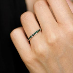 Wrapped Raw Emerald Band Ring. Emerald Ring. Raw Stone Ring. Green Stone Ring. Emerald Wedding Band Ring. Emerald Engagement Ring. | Natural genuine Array rings, simple unique alternative gemstone engagement rings. #rings #jewelry #bridal #wedding #jewelryaccessories #engagementrings #weddingideas #affiliate #ad