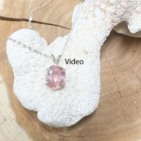 Coral To Peach Pink Zircon July Birthstone Necklace, Sterling Silver, Sparkling Eye Clear 8.75 Ct, 11.29 X 8.58 Mm Natural Zircon, July | Natural genuine Gemstone jewelry. Buy crystal jewelry, handmade handcrafted artisan jewelry for women.  Unique handmade gift ideas. #jewelry #beadedjewelry #beadedjewelry #gift #shopping #handmadejewelry #fashion #style #product #jewelry #affiliate #ad