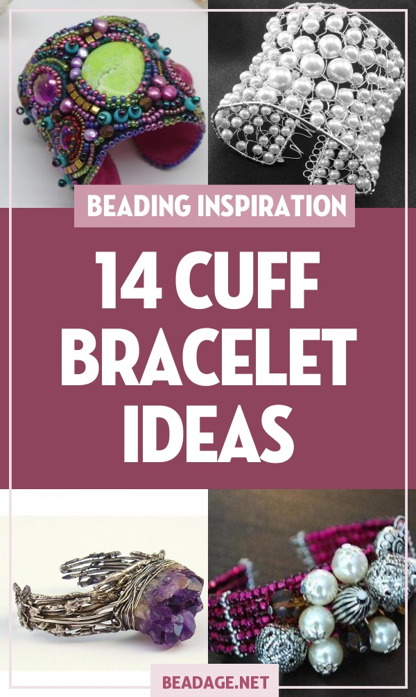 14 Beaded Cuff Bracelet Ideas | Wide cuffs can make an elegant statement. Here are some of our favorite beaded cuff ideas for you to try your hand at making. Styles include bead embroidery, woven wire, knitting with beads, memory wire, and more! | DIY Jewelry Making Ideas, Beading Ideas, Handcrafted Beaded Jewelry, Handmade, Beginners, Tutorials, Craft Projects | Fashion, Accessoreis, Jewels, Gems, Style | #craft #diy #jewelrymaking #beading #beadage #fashion #accessories #jewelry #style