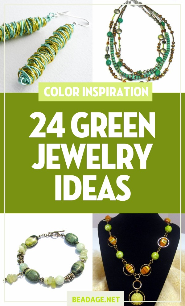 24 Green Jewelry Ideas | Green symbolizes spring, youth, and nature. Green beads go well with copper wire & gold and orange colored beads. Looking for some DIY jewelry making ideas & inspiration? Browse these green handcrafted beaded jewelry projects perfect for beginners. | DIY Jewelry Making Ideas, Beading Ideas, Handcrafted Beaded Jewelry, Handmade, Beginners, Tutorials, Craft Projects | Fashion, Accessoreis, Jewels, Gems, Style | #craft #diy #jewelrymaking #beading #beadage #fashion #accessories #jewelry #style