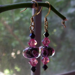 Black & Pink Rhapsody Earrings Project