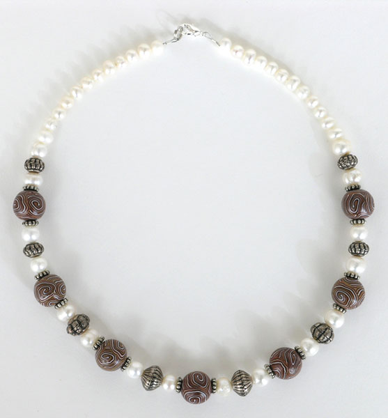 Handmade Brown Swirl Beads And Pearls Necklace Project