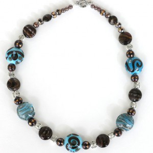 Chocolate And Turquoise Lampwork Bead Necklace Project Idea