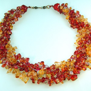 Sunset Crocheted Wire Necklace Jewelry Idea