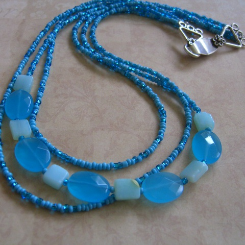 Blue Quartz And Blue Opal Multistrand Necklace Project