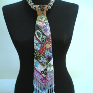 Bead Embroidery Necktie Necklace Jewelry Idea