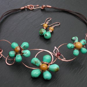 Turquoise And Copper Vines Necklace Set Jewelry Idea