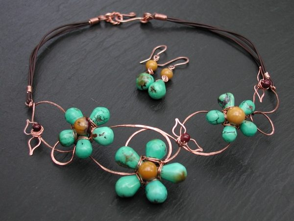 Turquoise And Copper Vines Necklace Set Project