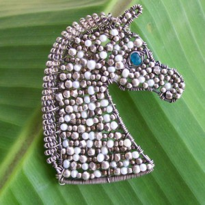 Mosaic Horse Bust Pendant Jewelry Idea