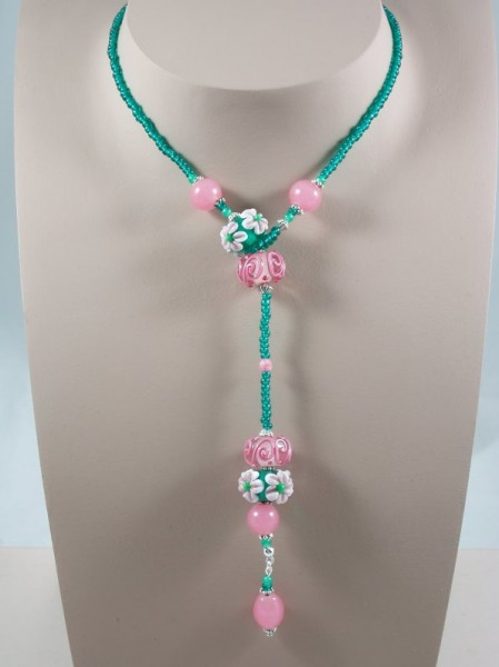 Teal & Pink Looped Over Pendant Project