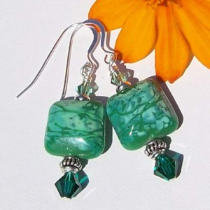 Green Glass Beaded Earrings Project