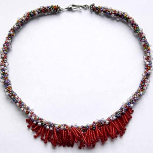 Red Fringe Crocheted Bead Choker Project Idea