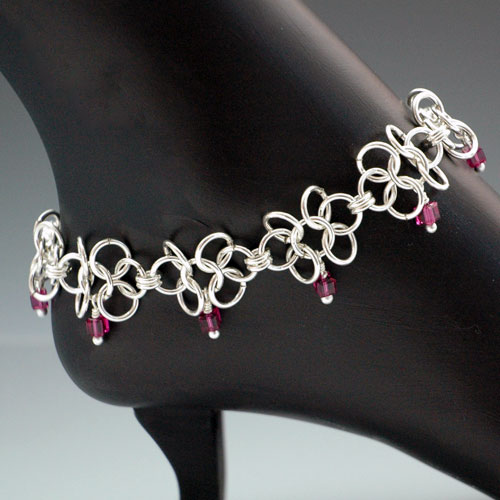 Pink Daisies Jump Ring Anklet Project