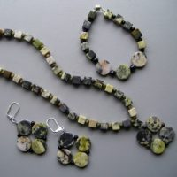 Square Rounds Yellow Turquoise Necklace Set Project