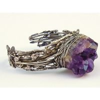 Silver And Amethyst Cluster Cuff Bracelet Project