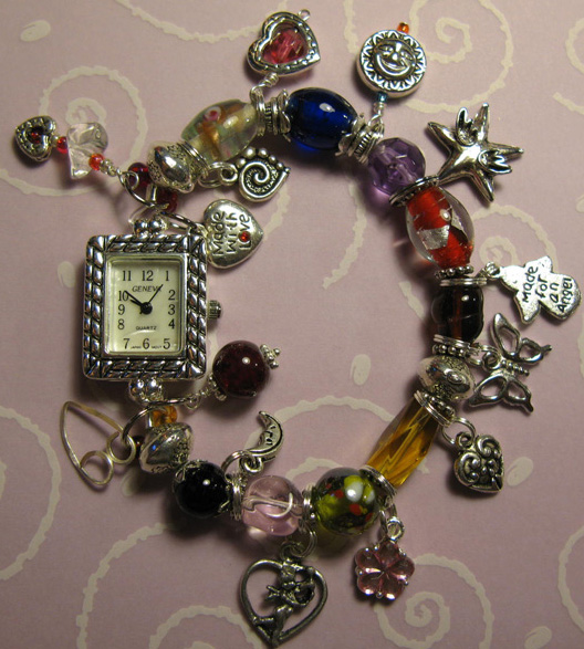 Charm Bracelet Watches: Hearts And Love Watch Charm Bracelet