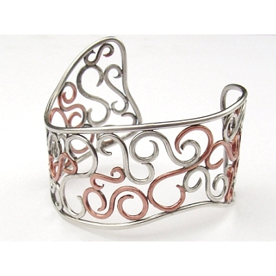 Silver And Copper Scroll Bracelet Project