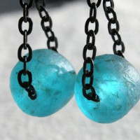 Aqua Recycled Glass Bead Earrings Project