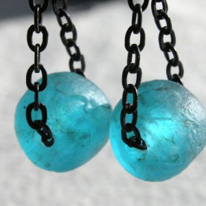 Aqua Recycled Glass Bead Earrings Project Idea