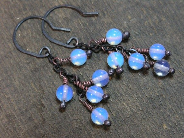 Moonstone And Oxidized Copper Earrings Project