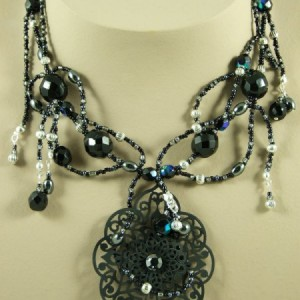 Black Filigree & Hematite Vines Ornate Pendant  Necklace Project Idea